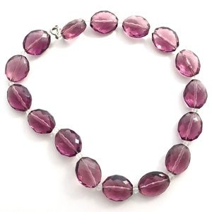 Purple Faceted Glass Bead Necklace Choker Crafts